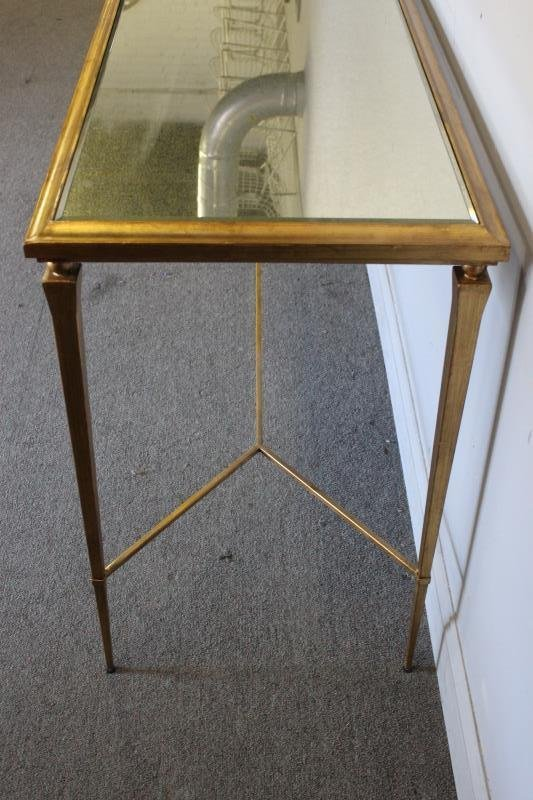 Modern Decorator Gilt and Mirrored Top Console. - 4