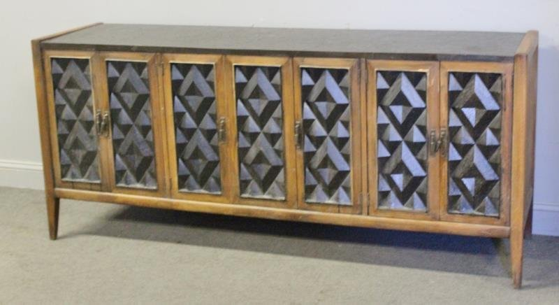 Midcentury Sculpted Front Wood Sideboard.