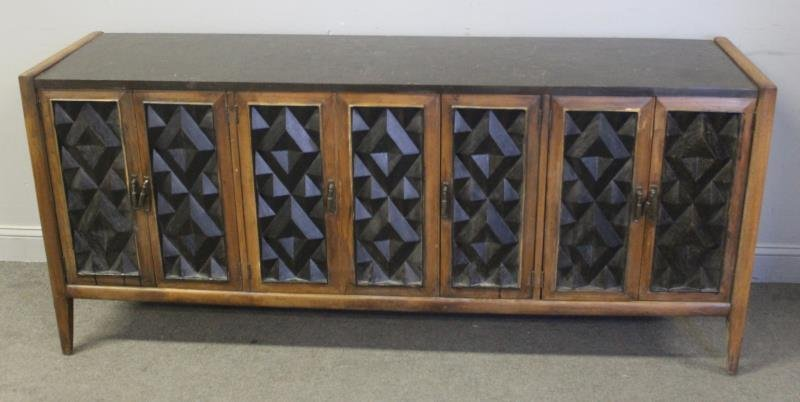 Midcentury Sculpted Front Wood Sideboard. - 2