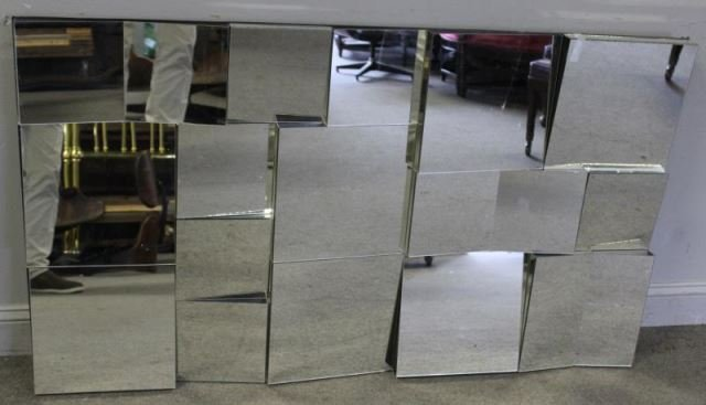 Midcentury Neal Smalls ? Patchwork Faceted Mirror.