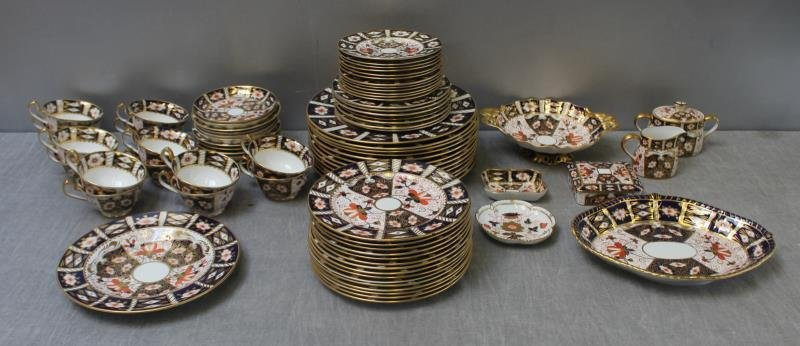 """Large Grouping of Crown Derby """"Imari """" Porcelain."""