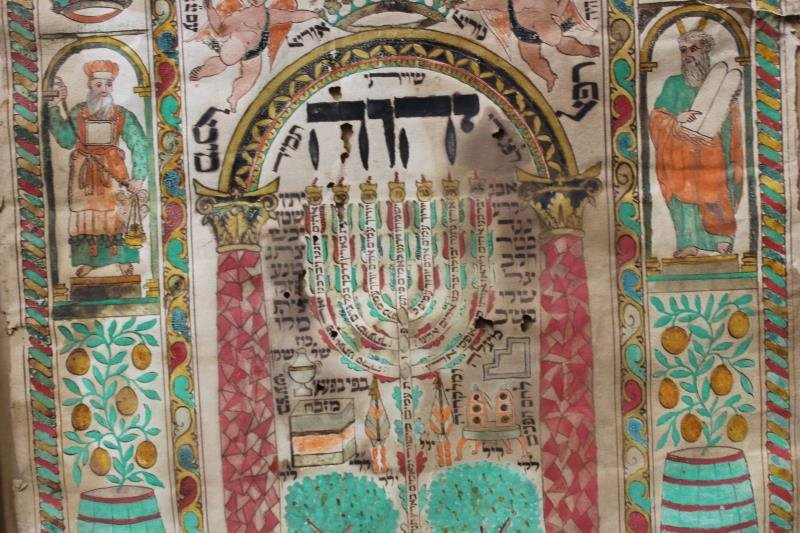 An Antique Italian Menorah Shviti Watercolor - 4