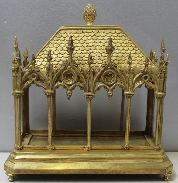 Gothic Style Two Piece Dore Bronze Reliquary.