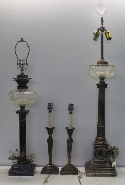 SILVER-PLATED. Grouping of Table and Floor Lamps.
