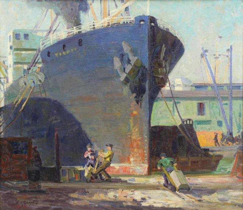 DRAKE, William A. Oil on Canvas. Ships in New York