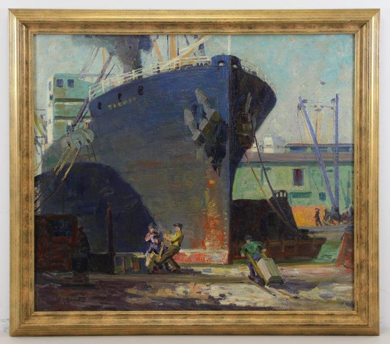 DRAKE, William A. Oil on Canvas. Ships in New York - 2