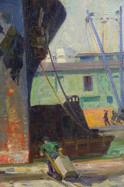 DRAKE, William A. Oil on Canvas. Ships in New York - 4