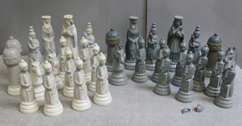 Lladro  Porcelain Chess Set.