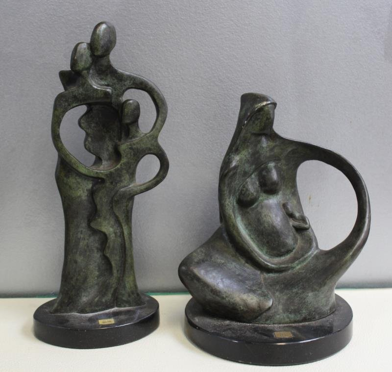 2 Patinated Bronze Abstract Figures Signed  Coste