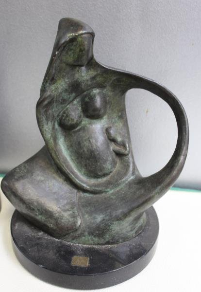 2 Patinated Bronze Abstract Figures Signed  Coste - 3