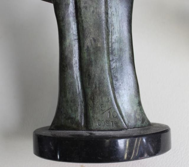 2 Patinated Bronze Abstract Figures Signed  Coste - 6