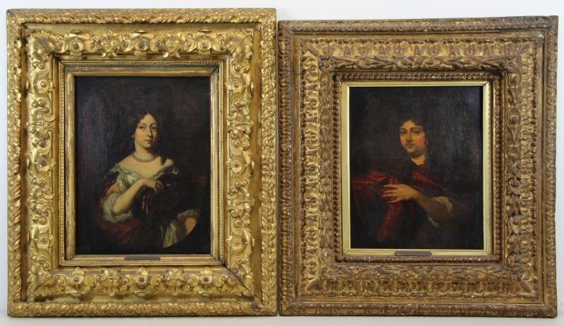 MAES, Nicoleas. Pair of Oil on Canvas Portraits.