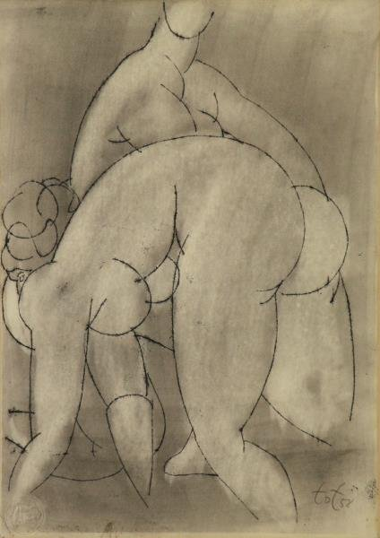 TOT, Amerigo. Ink Drawing on Paper. Two Nudes.