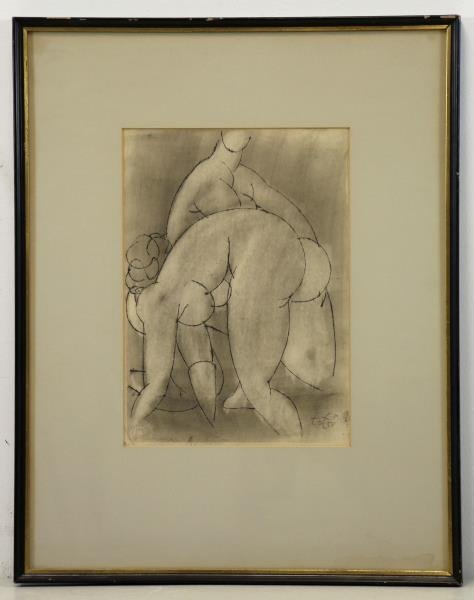 TOT, Amerigo. Ink Drawing on Paper. Two Nudes. - 2