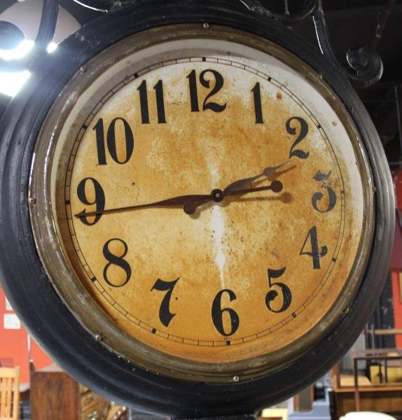 Vintage Monumental Metal Double Sided Clock - 8