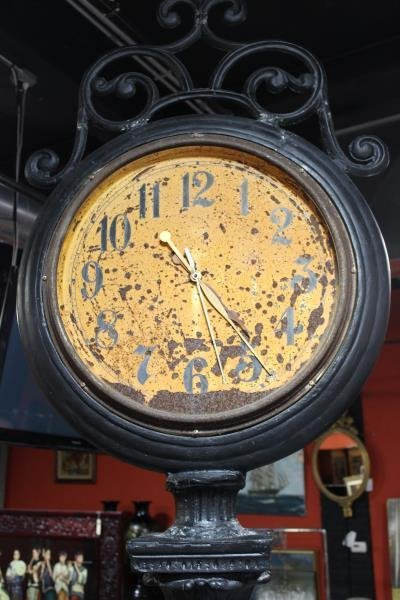 Vintage Monumental Metal Double Sided Clock - 9