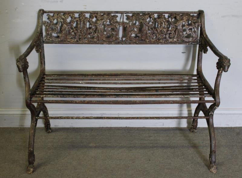 Antique Iron Bench with Rams Head Handles and