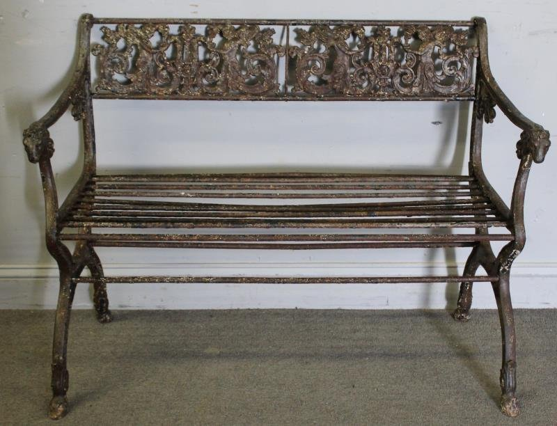 Antique Iron Bench with Rams Head Handles and - 2