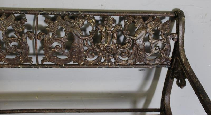 Antique Iron Bench with Rams Head Handles and - 3