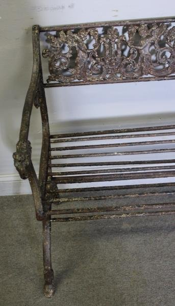 Antique Iron Bench with Rams Head Handles and - 4