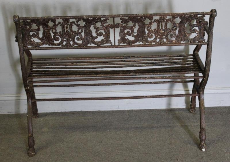 Antique Iron Bench with Rams Head Handles and - 5