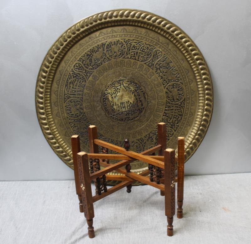 Antique Persian Engraved Brass Tray on Stand