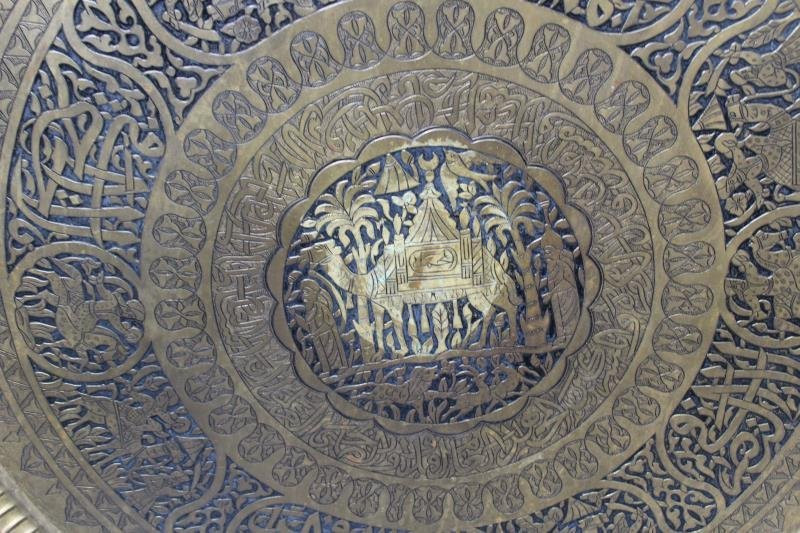Antique Persian Engraved Brass Tray on Stand - 3