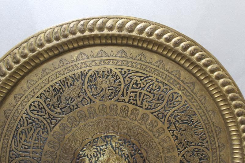 Antique Persian Engraved Brass Tray on Stand - 4