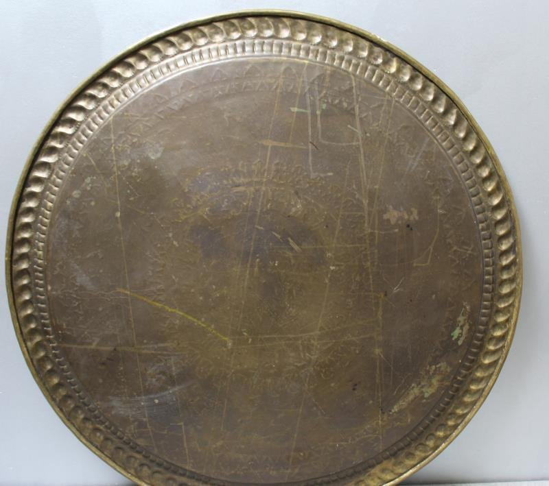 Antique Persian Engraved Brass Tray on Stand - 5