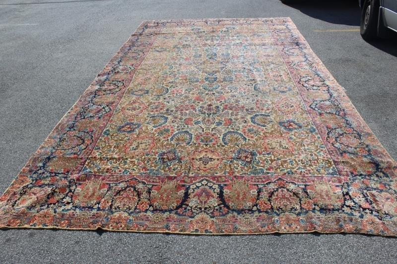 Antique Finely Woven Handmade Kirman Carpet