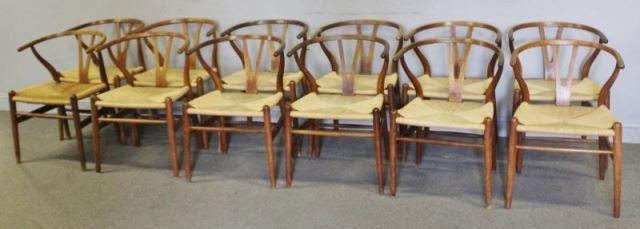 Set of 12 Midcentury Hans Wegner Wishbone Chairs.
