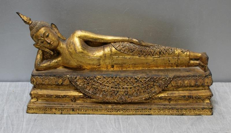 Antique Gilt Metal Reclining Buddha.