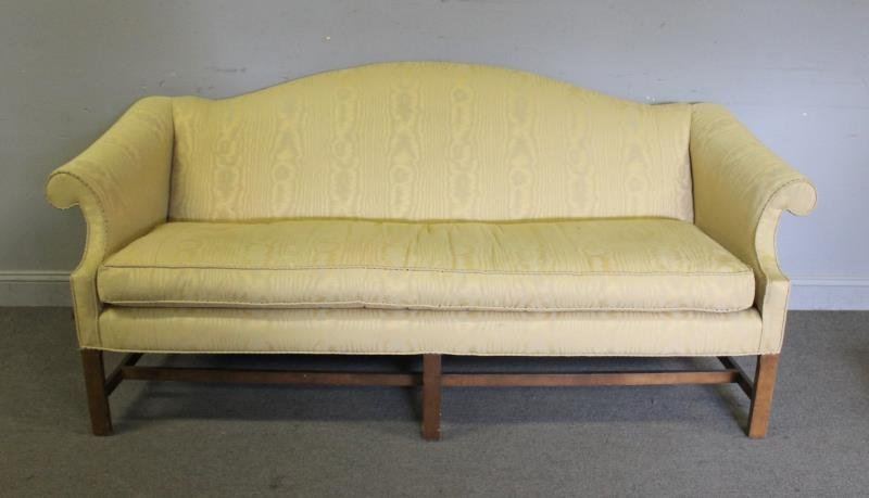 Upholstered Camelback & Scroll Arm Sofa,