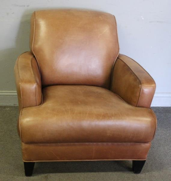 French Art Deco Style Leather Club Chair.