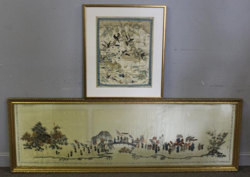 lot Of 2 Framed Asian Silks .