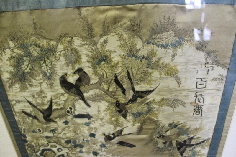 lot Of 2 Framed Asian Silks . - 3