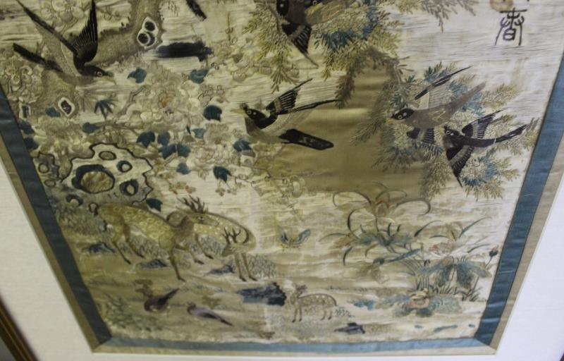lot Of 2 Framed Asian Silks . - 4