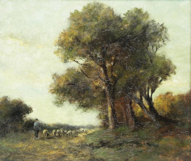 Signed Barbizon School Oil on Canvas. Shepherd