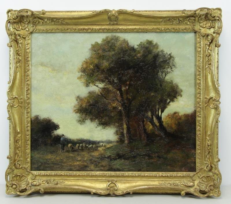 Signed Barbizon School Oil on Canvas. Shepherd - 2