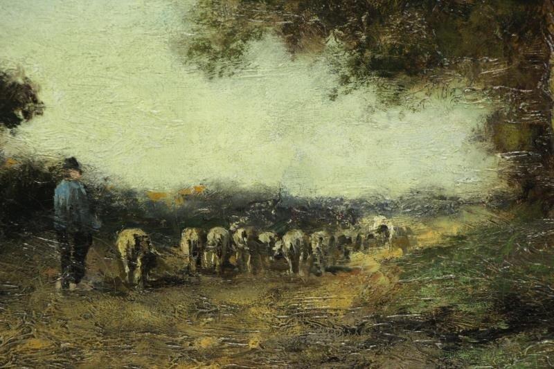 Signed Barbizon School Oil on Canvas. Shepherd - 3