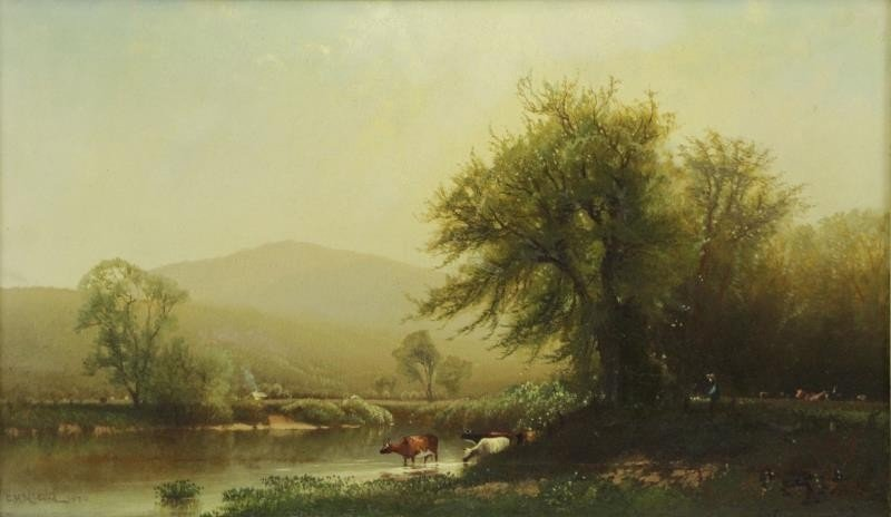 MCCORD, George H. Oil on Canvas. Cows Watering.