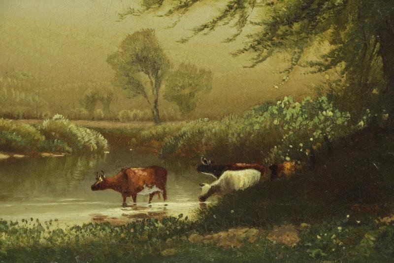 MCCORD, George H. Oil on Canvas. Cows Watering. - 3