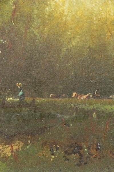 MCCORD, George H. Oil on Canvas. Cows Watering. - 4