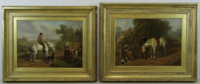 HEBERTE, Edward B. Pair of Oils on Canvas. English