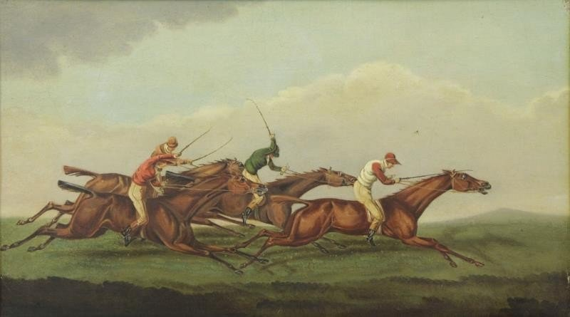 English School. 19th C. Oil on Panel Horse Racing