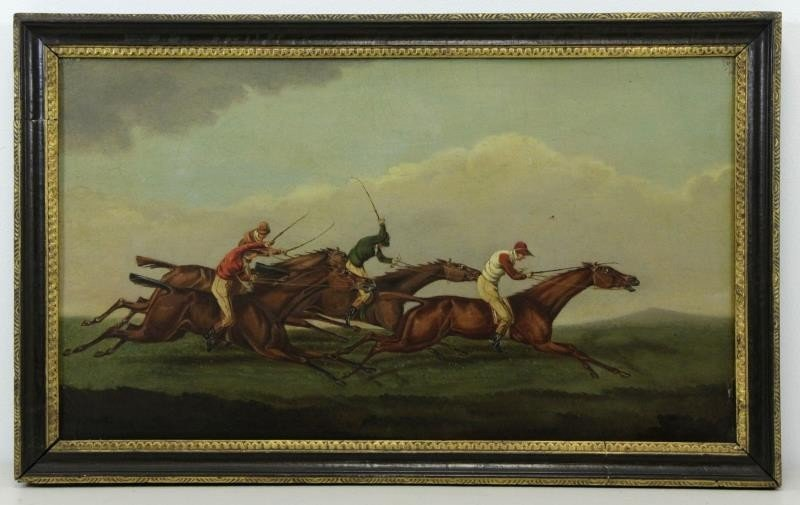 English School. 19th C. Oil on Panel Horse Racing - 2