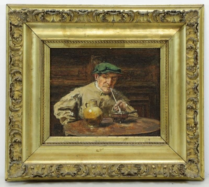 VERHAERT, Piet. Oil on Board. Man with Pipe. - 2
