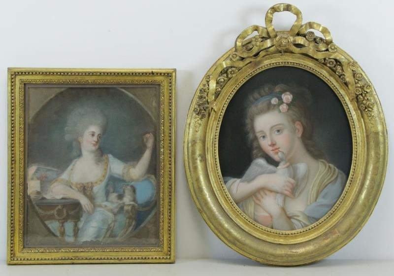 Lot of Two 19th Century Pastels.