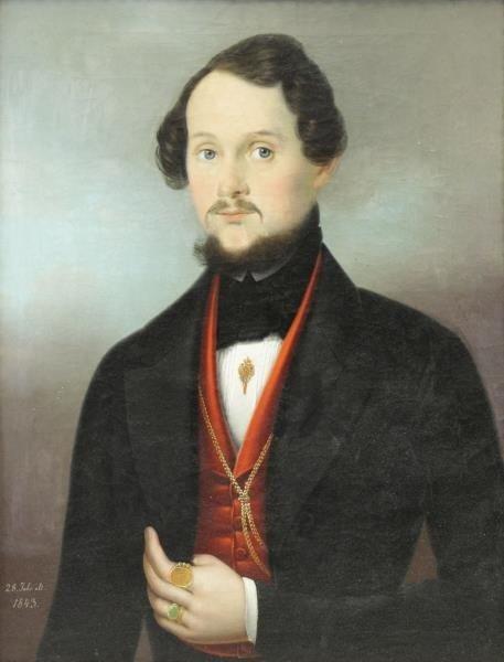 German School. 19th C. Oil on Canvas. Portrait of
