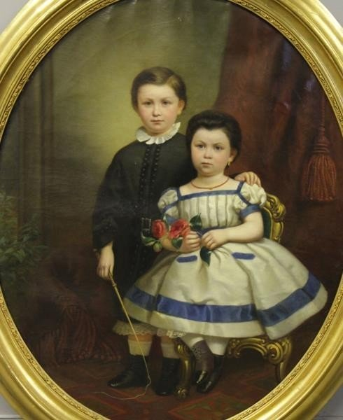 19th C. Oil on Canvas. Portrait of Two Children.